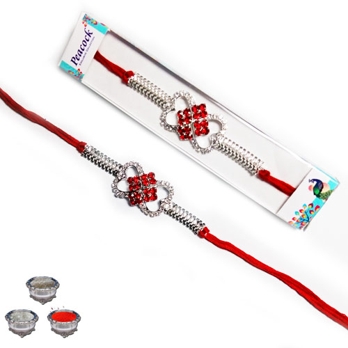 Sparkling American Diamonds & Silver plated Rakhi A-451
