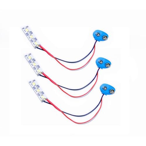 9V Battery Snap Cap with 2w white smd led strip 3 pcs