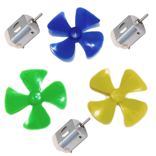 3 Pcs Mini Toy Motor + 3 pcs Fan blade for RC Car, toys,science projects DIY